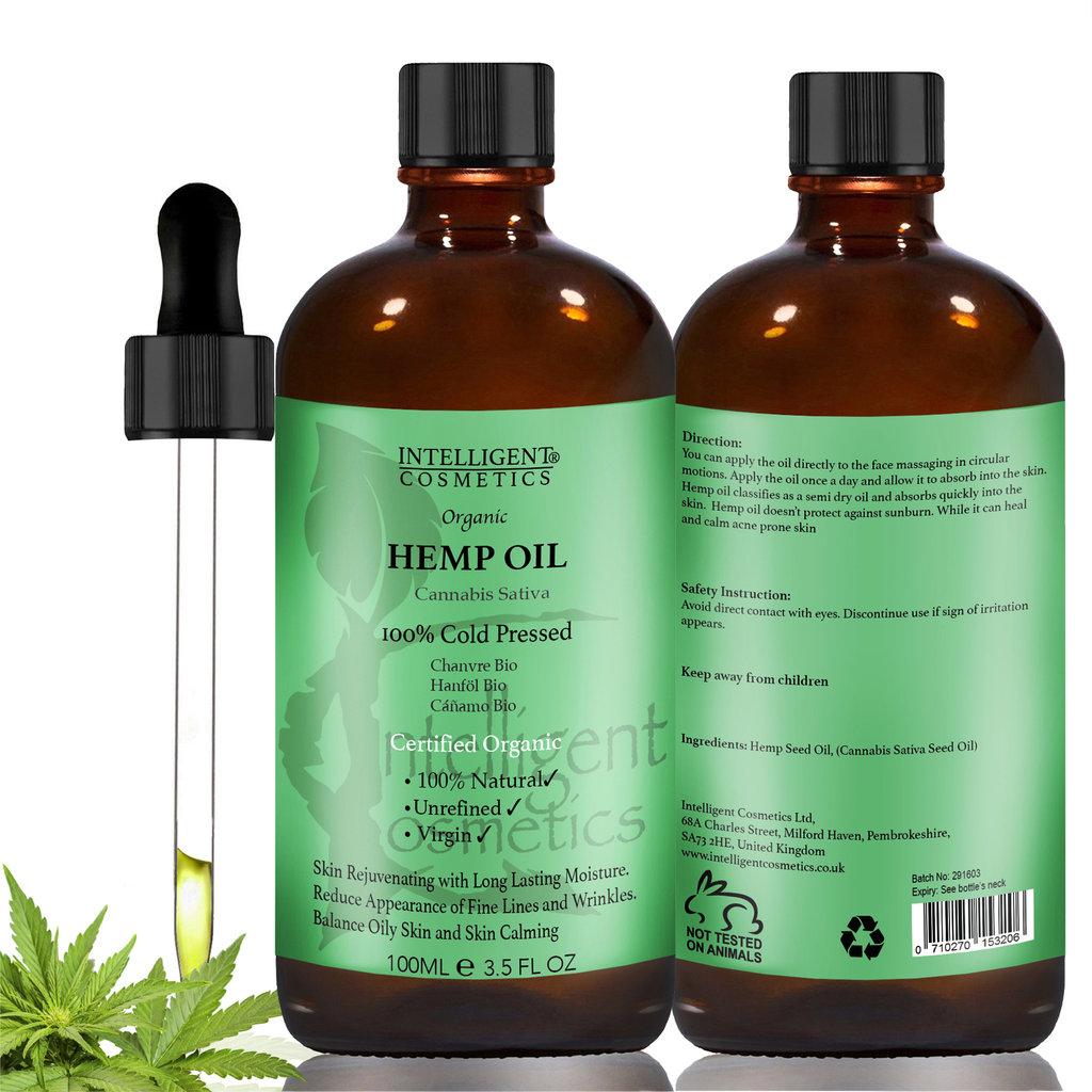 Hemp Seed Oil 100 Cold Pressed 100ml Intelligent Cosmetics